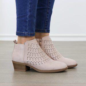 Mauve Suede Ankle Boots Laser Cut Design